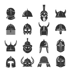 Warrior helmets set icons on white background vector