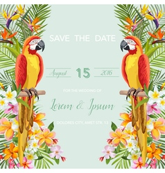 Wedding Card Tropical Flowers Parrot Bird vector image