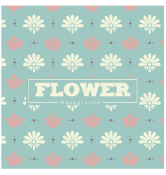 white and pink flower blue background pattern vect vector image
