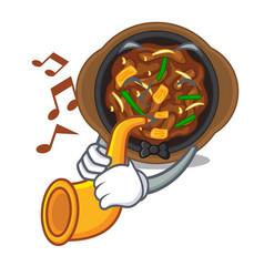 With trumpet bulgogi in a cartoon shape vector