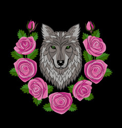 Wolf and roses embroidery vector