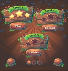 wooden game user interface window levels vector image