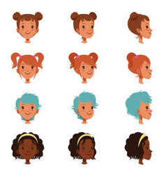 Avatars of female faces with different haircuts vector