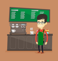 barista standing near coffee machine vector image