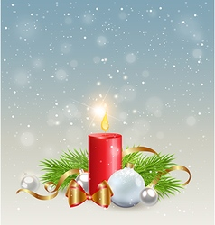 Christmas background with red candle vector image