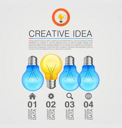 creative idea idea lamp light white background vector image vector image