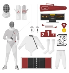 Fencing sport equipment set vector image vector image