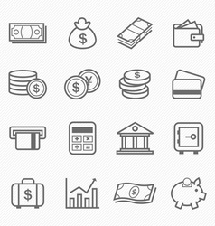 Finance and money outline stroke symbol icons vector image