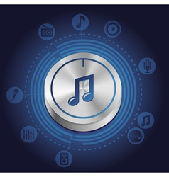 music concept with metal button and icons vector image vector image