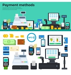 Payment methods with devices on the table vector image