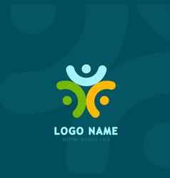 people logo grroup of three people logos social vector image