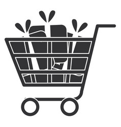 shopping cart with gifts vector image