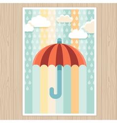 striped umbrella and rain drops vector image