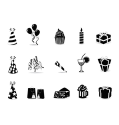 black birthday icon set vector image vector image
