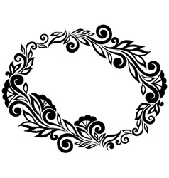 frame Black and white lace flowers and leaves vector image