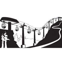 Gondola lift with stations vector