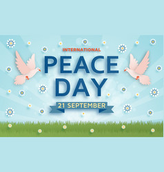 international peace day background with doves vector image