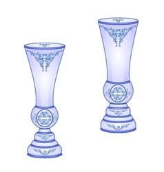 Two vases blue faience floral pattern vector image vector image