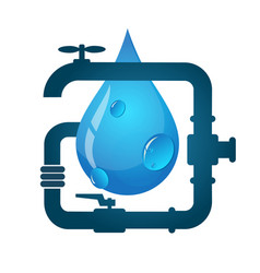 water pipes and water drop vector image vector image