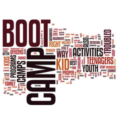 youth group activities boot camp text background vector image vector image