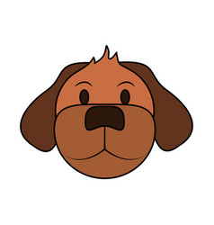 Color image cartoon front view face dog animal vector