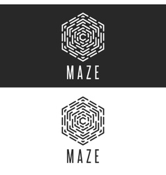 Maze logo cube thin line labyrinth vector
