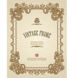 original hand draw ornate floral vintage frame vector image vector image