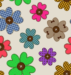 Seamless pattern of flower patchworks vector image