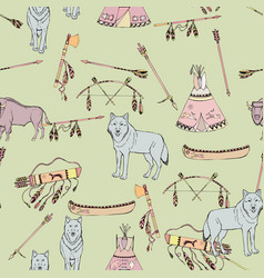 Seamless pattern with american indian elements vector