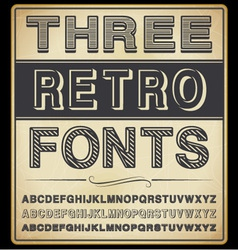 Set of Three Vintage Fonts vector image