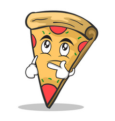 thinking face pizza character cartoon vector image vector image
