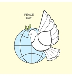 White dove with an olive branch and globe vector
