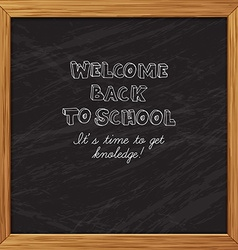 Black blackboard greeting card welcome back to vector image