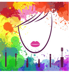 face of beautiful girl makeup artist fashion vector image vector image