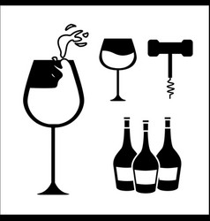 glasses bottles of wine and take out cork vector image vector image