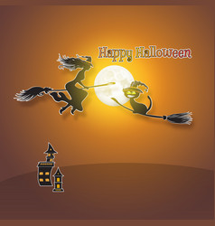 halloween background with full moon witch cat vector image