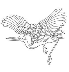oriental stork bird tattoo vector image vector image