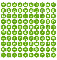 100 post and mail icons hexagon green vector