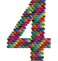3d font number 4 vector image