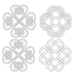 4 celtic designed four-leave clovers vector image