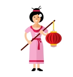 Asian Woman with lantern Flat style vector image vector image