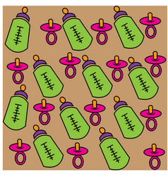 Baby pacifier patterns seamless for fabrics vector