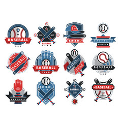 Baseball logo badge sport team or club vector