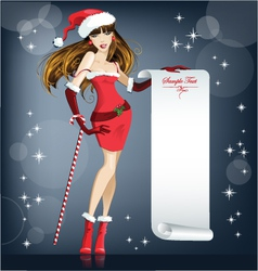beautiful girl santa claus vector image
