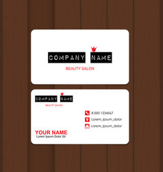 beauty salon business card template vector image