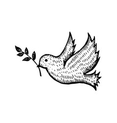 Bird with leaf flying silhouette hand drawn sketch vector