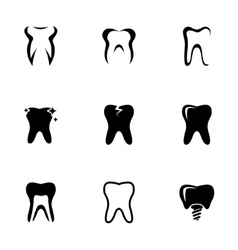 black teeth icons set vector image