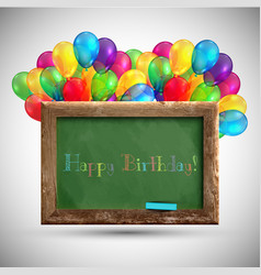 Blackboard with colorful balloons vector