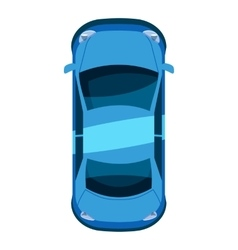 Blue car top view icon isometric 3d style vector
