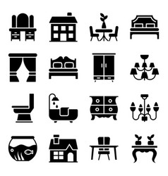 Building decor solid icons pack vector
